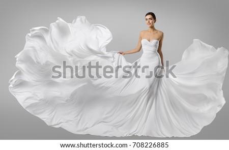 Woman White Dress, Fashion Model in Long Silk Gown, Waving Flying Fabric, Fluttering on Wind