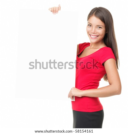 Woman whiteboard / placard. Beautiful woman holding white blank billboard sign isolated on white. Mixed race asian chinese / white female model.