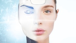 Woman who becomes a robot with artificial intelligence. Concept of: future, artificial intelligence, robot.