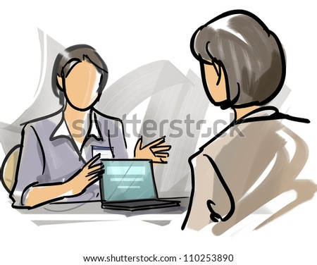 Woman who explains showing personal computer