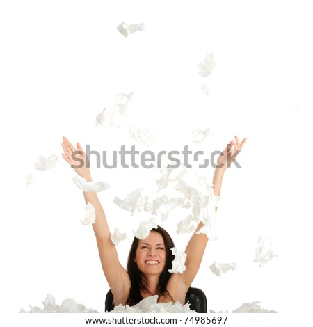 Woman winning with sickness - throwing tissues with big smile