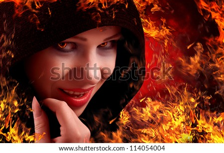 woman witch on fire, Halloween