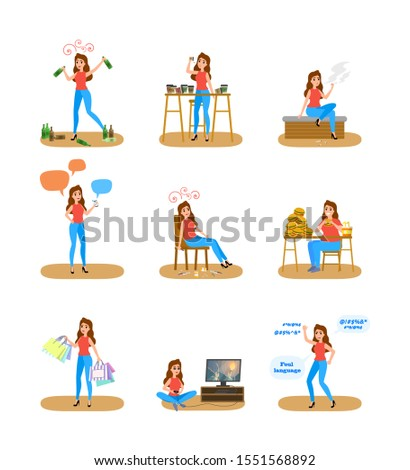 Woman with a bad habits set. Alcohol and coffee addiction, eating junk food and gambling. Unhealthy lifestyle and danger for life.  flat illustration