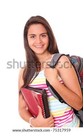Woman  with a bag and red books on her hands over white background