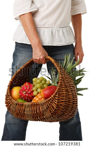 Woman with a basket of fruit and vegetables