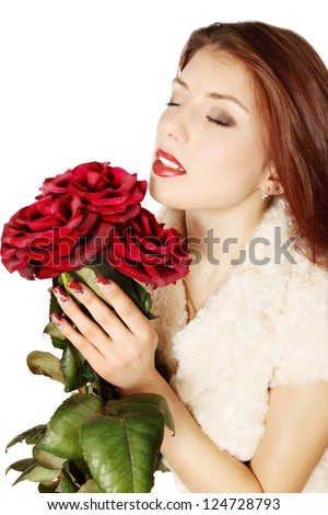 Woman with a bouquet of roses on a white background