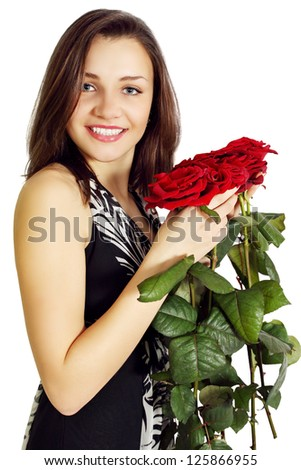 Woman with a bouquet of roses on white background