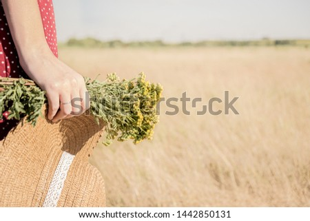 Woman with a bunch of flowers and a hat in the field. Rural scene: female in polka-dot dress with farmer hat and bouquet of flowers in her hand, retro styled faded colors
