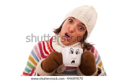 woman with a funny face like her hot drink cup (isolated on white)