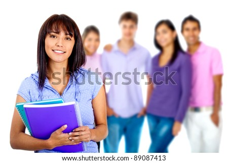 Woman with a group of students - isolated over a white background