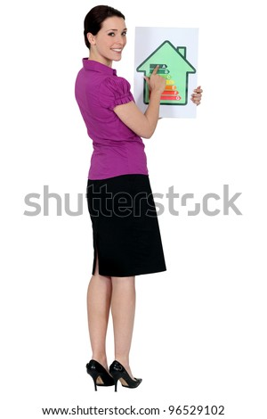 Woman with a house energy rating sign