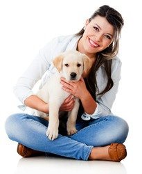 Woman with a little puppy - isolated over a white background
