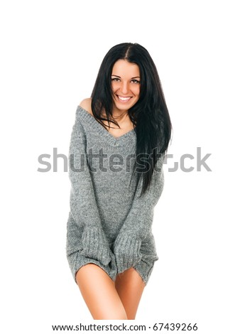 Woman with a long beautiful hair on white background