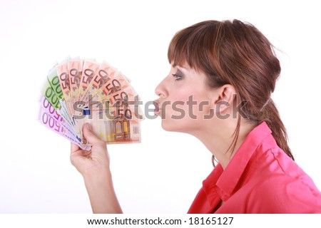 Woman with a lot of euro money
