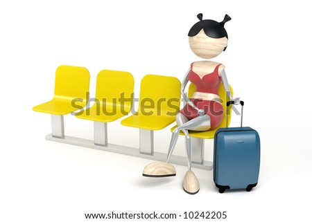 Woman with a luggage in a waiting room