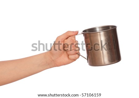 woman with a metal cup asking the money
