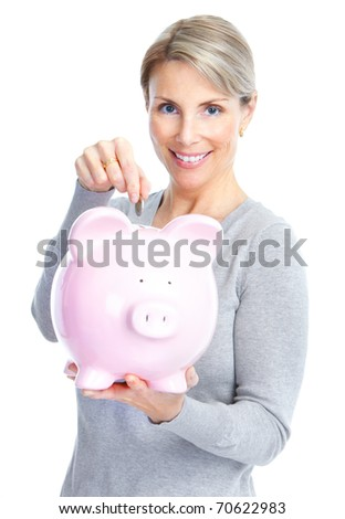 Woman with a piggy bank. Isolated over white background - stock photo