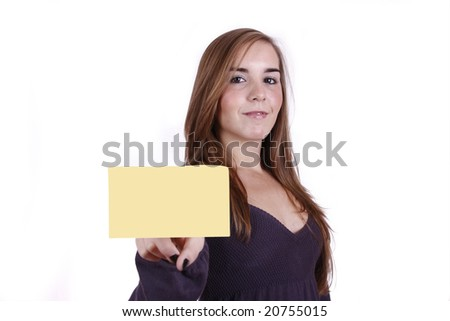 Woman with a positive attitude holding an empty paper note
