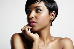 woman with a short haircut and black skin