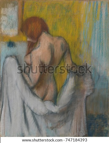 Woman with a Towel, by Edgar Degas, 1894-98, French impressionist drawing, pastel on paper. The strong outlines emphasize the muscularity of the womans action