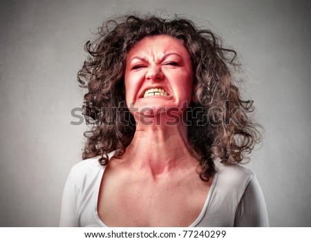 Woman with aggressive expression
