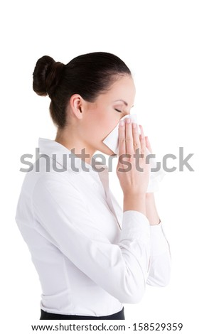Woman with allergy or cold, isolated on white background  - stock photo