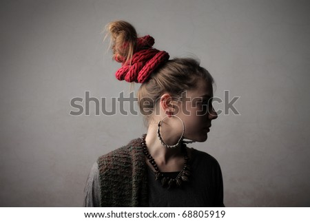 Woman with alternative hairstyle