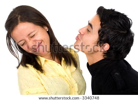 woman with an unwanted boyfriend - isolated over a white background