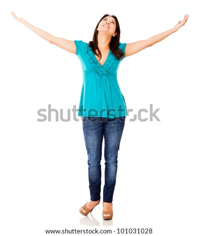 Woman with arms open - isolated over a white background