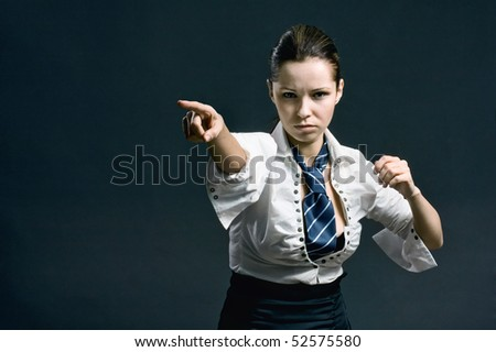 Woman with attitude makes a gesture with his hand