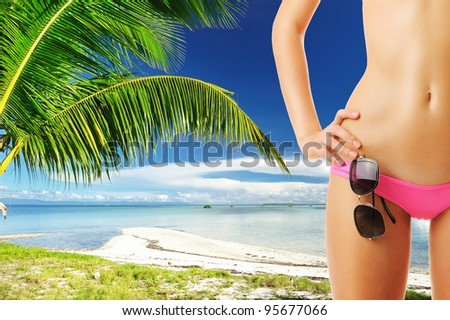 Woman with beautiful body wearing sunglasses at tropical beach. Collage.