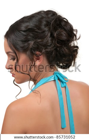 woman with beautiful hair and make up for parties and weddings