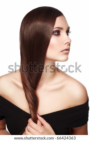 woman with  beautiful hair isolated on white