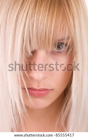 Woman with beautiful long blond hairs