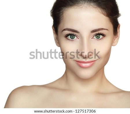 Woman with beauty face looking with smile. Front isolated portrait on white background