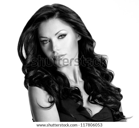 Woman with beauty long brown hair. Black or white image