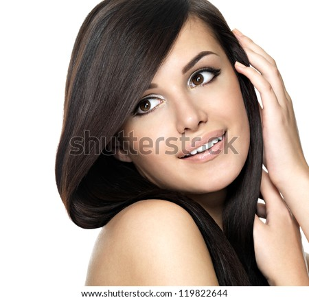 Swell Woman With Beauty Long Straight Hair Pretty Young Girl With Short Hairstyles For Black Women Fulllsitofus