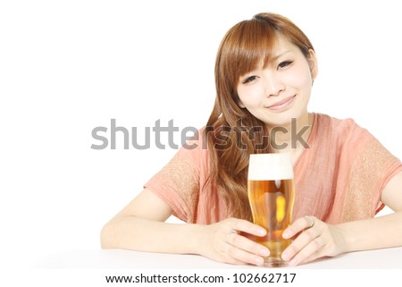Woman with beer.