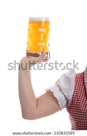 Woman with beer mug in hand