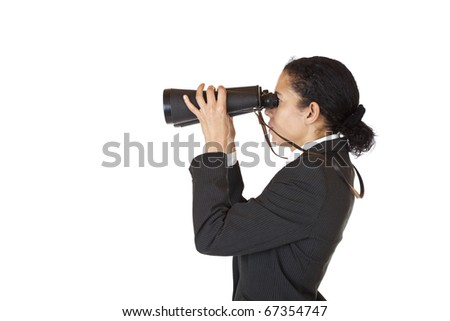 Woman with binoculars searching for business in the future. Isolated on white background.