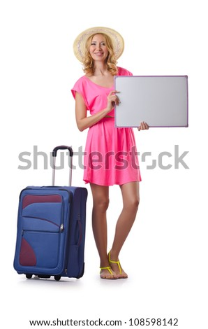 Woman with blank board on white