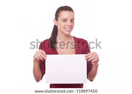 woman with blank board or paper for you ad or advert