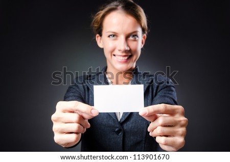 Woman with blank message