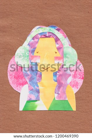 Stock Photo Woman with blue and pink hair enjoying music in headphones, eyes closed, handmade watercolor paper cutout illustration on brown pack paper texture