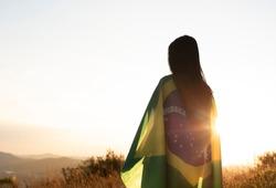woman with brazilian flag