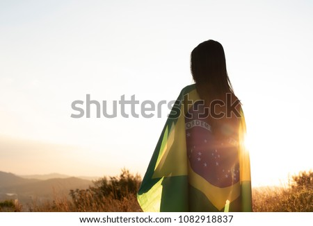 woman with brazilian flag