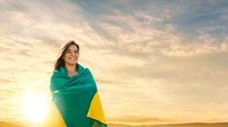 Woman with brazilian flag, independece day