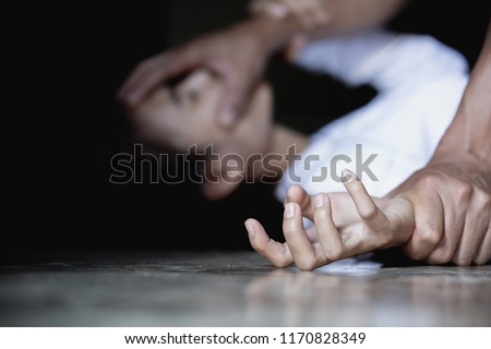 Woman with bruises and wound domestic violence rape , Vintage effect style pictures ,concept photo of sexual assault