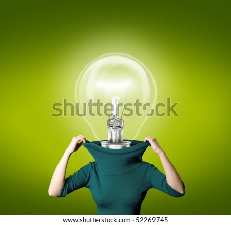 woman with bulb head isolated on different backgrounds with reflections