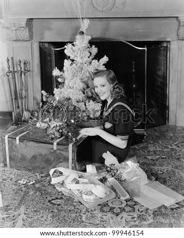 Woman with Christmas decorations